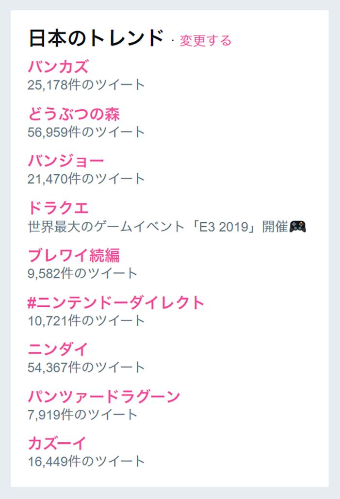 ニンテンドーダイレクトさん、日本のTwitterトレンドを汚染してしまう